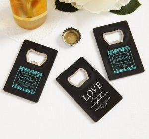 PERSONALIZED Wedding Credit Card Bottle Openers - Black (Printed Plastic) (White, Always & Forever Love)