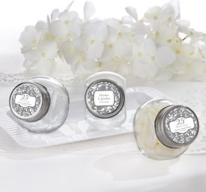 PERSONALIZED Wedding Glass Candy Jars (Printed Label) (Silver Elegant Scroll)