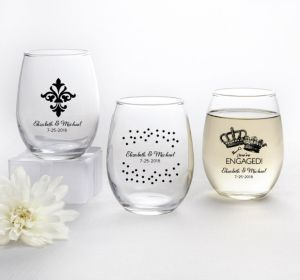 PERSONALIZED Wedding Stemless Wine Glasses 9oz (Printed Glass) (Black, We're Engaged Crowns)
