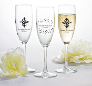 PERSONALIZED Wedding Champagne Flutes (Printed Glass) (Black, Damask & Dots Engagement)
