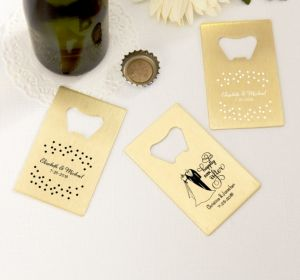 PERSONALIZED Wedding Credit Card Bottle Openers - Gold (Printed Metal) (White, Happily Ever After)