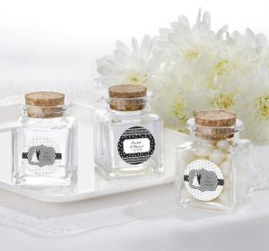 PERSONALIZED Wedding Small Glass Bottles with Corks (Printed Label) (Black & White Wedding)
