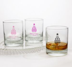 PERSONALIZED Wedding Rocks Glasses (Printed Glass) (Bright Pink, Sweet Wedding Cake)