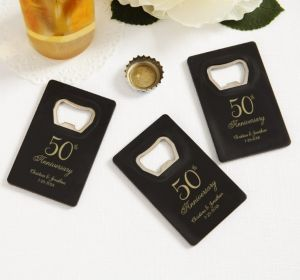 PERSONALIZED Wedding Credit Card Bottle Openers - Black (Printed Plastic) (50th Anniversary Elegant Scroll)