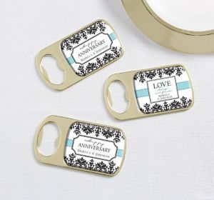 PERSONALIZED Wedding Bottle Openers - Gold (Printed Epoxy Label) (Always & Forever Anniversary)