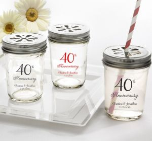 PERSONALIZED Wedding Mason Jars with Daisy Lids (Printed Glass) (40th Anniversary Elegant Scroll)
