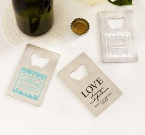 PERSONALIZED Wedding Credit Card Bottle Openers - Silver (Printed Metal) (Black, Always & Forever Phrase)