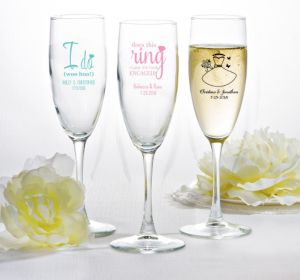 PERSONALIZED Wedding Champagne Flutes (Printed Glass) (Pink, Blushing Bride Dress)