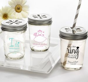 PERSONALIZED Wedding Mason Jars with Daisy Lids (Printed Glass) (White, Blushing Bride Dress)