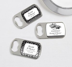 PERSONALIZED Wedding Bottle Openers - Silver (Printed Epoxy Label (Damask & Dots Engagment)