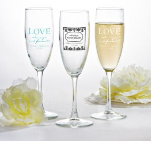PERSONALIZED Wedding Champagne Flutes (Printed Glass) (Robin's Egg Blue, Always & Forever Damask)