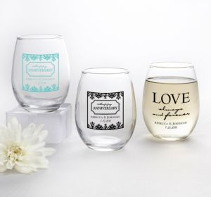 PERSONALIZED Wedding Stemless Wine Glasses 9oz (Printed Glass) (Black, Always & Forever Phrase)