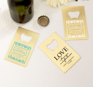 PERSONALIZED Wedding Credit Card Bottle Openers - Gold (Printed Metal) (Robin's Egg Blue, Always & Forever Phrase)