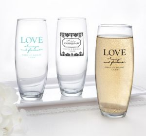 PERSONALIZED Wedding Stemless Champagne Flutes (Printed Glass) (White, Always & Forever Phrase)