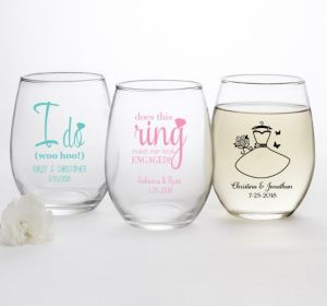 PERSONALIZED Wedding Stemless Wine Glasses 15oz (Printed Glass) (Robin's Egg Blue, Blushing Bride Dress)