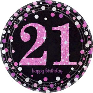 Prismatic 21st Birthday Lunch Plates 8ct - Pink Sparkling Celebration