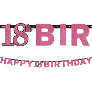 Prismatic 18th Birthday Banner - Pink Sparkling Celebration