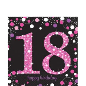 18th Birthday Lunch Napkins 16ct - Pink Sparkling Celebration