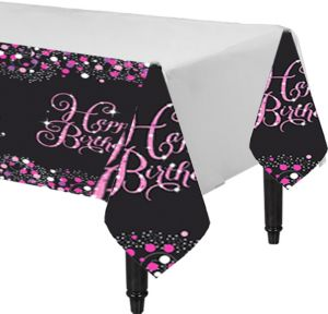 Happy Birthday Table Cover - Pink Sparkling Celebration