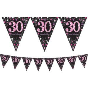 Prismatic 30th Birthday Pennant Banner - Pink Sparkling Celebration