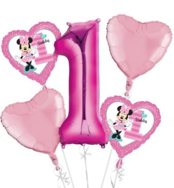 Baby Minnie Mouse 1st Birthday Balloon Bouquet 5pc