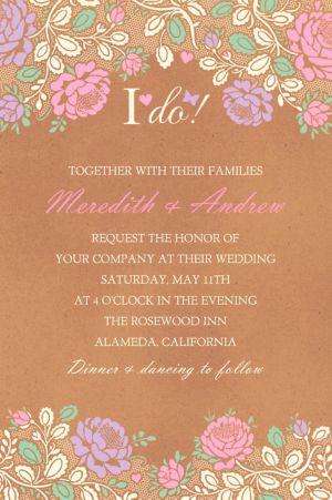 Custom Rustic Floral Wedding Invitation