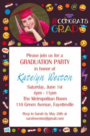 Custom Smiley Graduation Photo Invitation