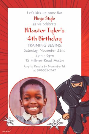 Custom Ninja Photo Invitation