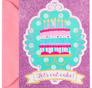 Glitter Pink & Teal Cake Invitations 8ct