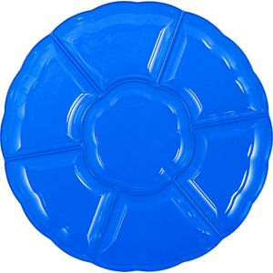 Royal Blue Plastic Scalloped Sectional Platter