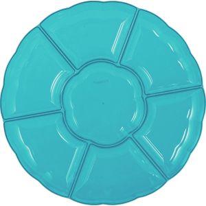 Caribbean Blue Plastic Scalloped Sectional Platter