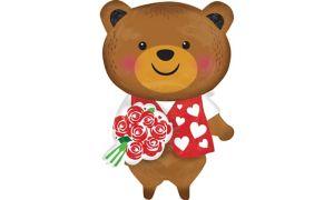 Teddy Bear with Roses Balloon - 3D