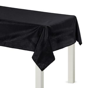 Metallic Black Fabric Tablecloth