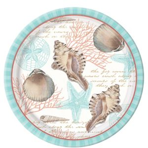 Eco-Friendly By the Sea Seashell Dinner Plates 8ct