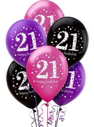 21st Birthday Balloons 6ct - Pink Sparkling Celebration