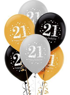 21st Birthday Balloons 6ct - Sparkling Celebration