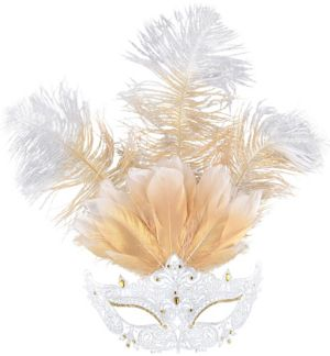 White Filigree & Feather Masquerade Mask