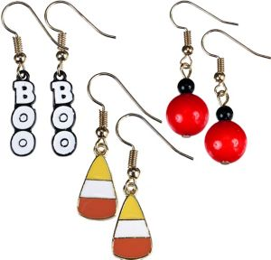 Boo & Candy Corn Halloween Earrings Set 6pc