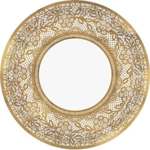 Metallic Delicate Gold Lace Dinner Plates 8ct