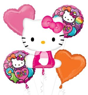 Rainbow Hello Kitty Balloon Bouquet 5pc