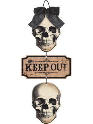 Boneyard Skulls Keep Out Stacked Sign