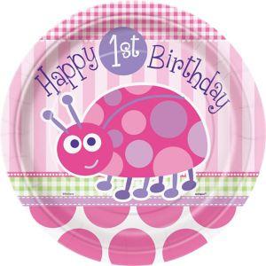 Pink Ladybug 1st Birthday Lunch Plates 8ct