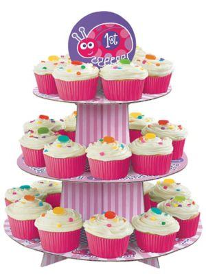 Pink Ladybug 1st Birthday Cupcake Stand