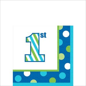 Blue Dots & Stripes 1st Birthday Beverage Napkins 16ct