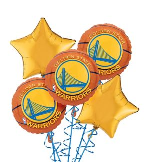 Golden State Warriors Balloon Bouquet 5pc - Basketball