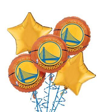 Golden State Warriors Balloon Bouquet 5pc - Basketball