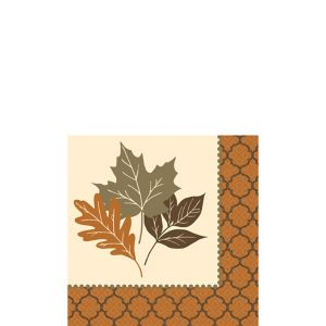 Copper Leaves Beverage Napkins 16ct