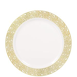 White Gold Lace Border Premium Plastic Lunch Plates 20ct