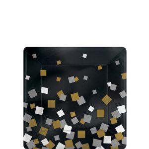 Metallic Black, Gold & Silver Squares Dessert Plates 8ct