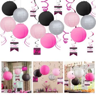 Black & Pink Ceiling Decorating Kit